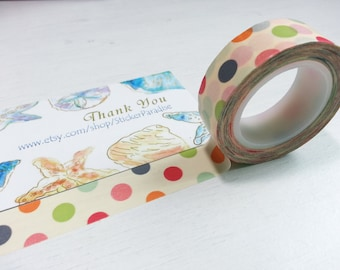 Crazy Sales : Corloful Dots Washi / Masking Tape - 10M