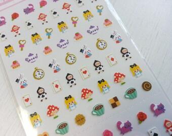 Sale Alice in the Wonderland Paper Sticker  - 1 Sheet