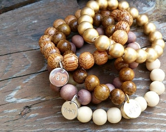 Personalized Rustic Wooden Bead Bracelet - Wood Beads, Stacking Bangles, Personalized Jewelry, Mom Jewelry, Initials