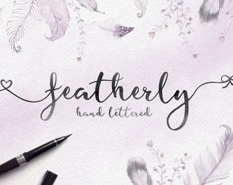 Script font - featherly Font - handlettered font - Calligraphy font - Wedding font - photography logo