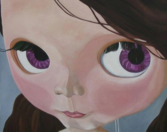 PigTails, Blythe Doll, Print, Wall Art, Home Decor, Print made of Original Oil Painting by Cal Navin, Pop Art