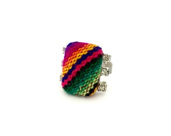 Handcrafted textile accent bedazzle fashion adjustable ring