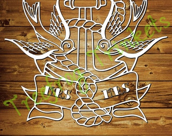 Tattooed Mr and Mrs Papercutting Template for COMMERCIAL USE