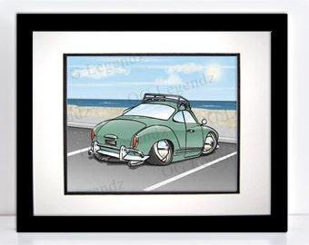 Slammed VW Ghia, Art Print - An Original EXCLUSIVE Volkswagen Design by Og Legendz... Slammed VW