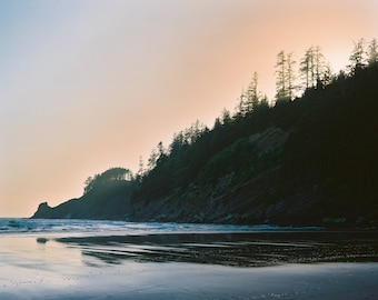 sunset at the oregon coast. Print with border on 8x10 paper by Ryan Muirhead. Unsigned.