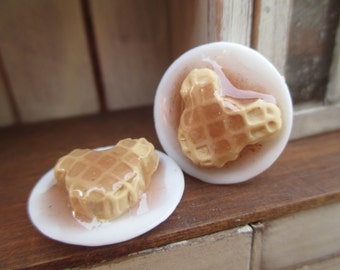 Dollhouse Miniatures - Mouse Ears Waffles on Porcelain Platter with Syrup - Breakfast Waffles Set of 2