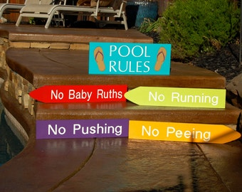Pool Rules Engraved Wood Signs/Arrows/Backyard Poolside Decor