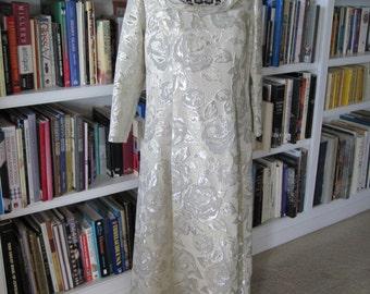 SILVER METALLIC BROCADE Dress Size Large