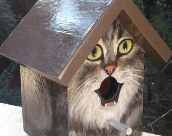 Bird House Hand Painted Custom Grey Tabby Cat Design Wood Outdoor