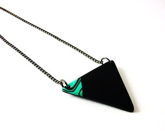 Triangle necklace, Long black necklace, Geometric necklace, Arrow necklace, Unique gift for her, Handmade jewelry, Minimalist jewelry