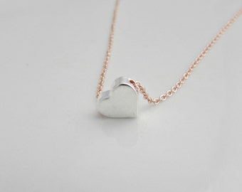 Silver Heart Necklace, Heart Necklace, Rose Gold Necklace, Gifts for Girls, British Seller UK, Bridesmaid Gifts, Valentine Gifts, BFF Gift