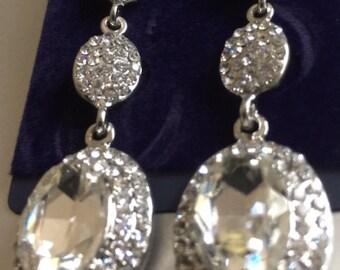 "Three Tiers of Teardrop Jewels dangles gauges plugs 4g - 5/8"" 5mm - 16mm"