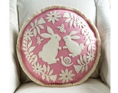 Bunny Rabbit Flower Garden Pillow in Creamy White on Pink with Butterflies, Snails and Flowers