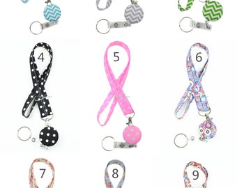 Doliphine Narrow Fabric Lanyard with Retractable ID Badge Reel Holder Keychain