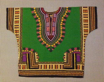 1970's, Dashiki, in Kelly green, with colorful design, Adult size XL