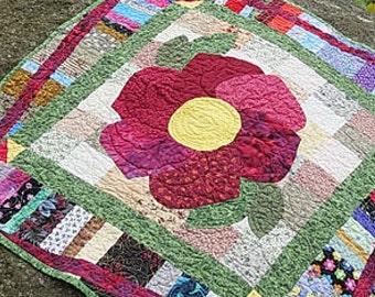 Handmade Contemporary Art Quilt, Modern Wall Quilt, Quilted Wall Hanging, Handcrafted Art Quilt,   Floral Quilted Wall Hanging, Fiber Art