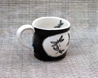 Dragonfly Mug, dragonfly, coffee mug, white and black, white, black, porcelain, in stock