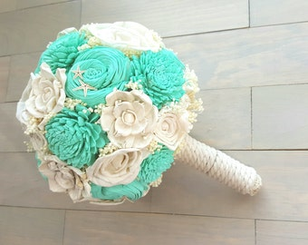 Aqua Beach Wedding Bouquet, Starfish Bouquet, Nautical Wedding
