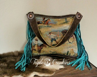Western Fabric and Leather Shoulder Bag**SALE
