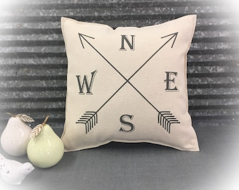 Decorative Pillow with a compass and arrows on the front COMPLETE pillow. Aztec arrow pillow,  arrow compass pillow, compass rose
