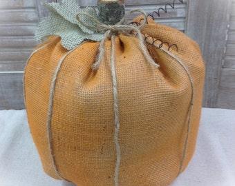 Burlap Pumpkin in Orange or Natural - Holiday Decorating Home Decor Fall decorating