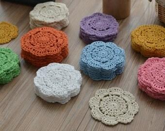 "Dozen Hand Crochet 4"" Round Small Doilies Cotton Floral Sewing Appliques"