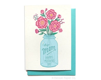 Stepmom Card - Cute Mothers Day Card - Happy Mothers Day Step-Mom - Flowers in Mason Jar