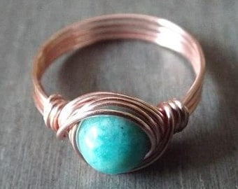 Amazonite Ring, Aqua Stone Ring, Thumb Ring, Amazonite Jewelry, Rose Gold Thumb Ring, Wire Wrapped Ring, Cute Ring, Dainty Ring, Light Blue