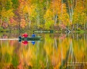 Autumn Photography, Boat, Wisconsin Lake, Gone Fishing, Reflection, Fine Art Print, Fall Colors, Recreation, North Country, Home Cabin Decor