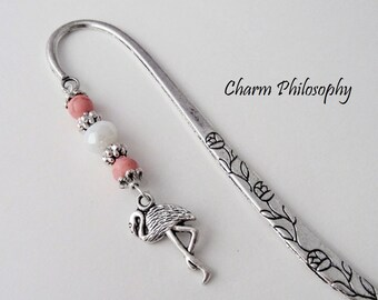 Flamingo Bookmark - Tibetan Silver Bookmark - Unique Bookmarks - Personalized Stationary - Bird Gifts