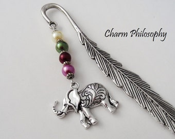 Elephant Bookmark - Tibetan Silver Bookmark - Unique Bookmarks - Indian Inspired Elephant Gifts