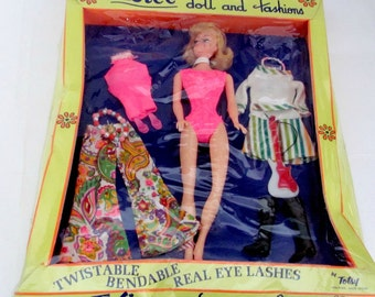 Vintage Barbie Doll Clone, 1960's Totsy Twistee Doll, Blonde Barbie Clone, Barbie Clone Clothes, NRFB, NIP