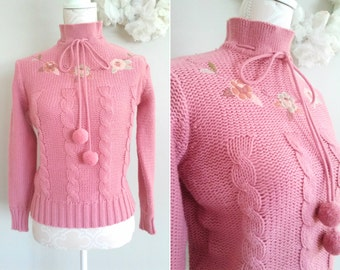 Vintage Pink Knit Floral Pullover -- Shabby Chic 80's Sweater -- Flower Embroidery -- SMALL