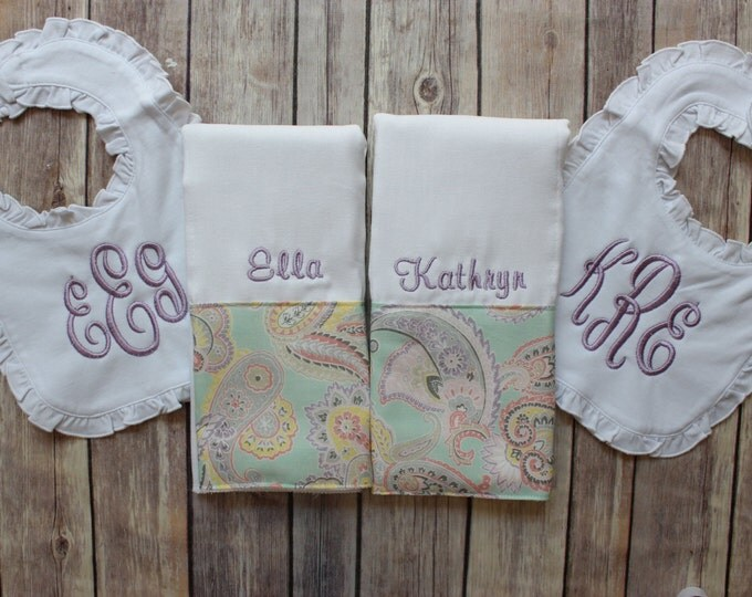 Personalized Twin Baby Gift, Twin Girl Baby Gift, Monogrammed Twin Girl, Twin Girl Burp Cloth Bib Set, Monogrammed Burp Cloth Set, Ruffle