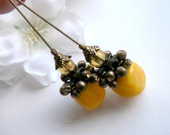 Yellow quartz earrings yellow dangle yellow stone dangle yellow bronze earrings bronze crystal dangle yellow summer earrings yellow summer