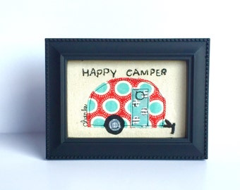 Happy Camper Appliqué Framed Free Motion Embroidery Retro Red and Aqua