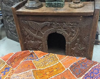 Antique Tribal Carved Chest Eclectic Altar Sideboard Indian Home Decor Rustic Furniture 18c