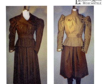 Ladies' 1890's Sporting Costumes with Leggings, Basque, Bloomers & Skirt sizes 6-28 Laughing Moon Sewing Pattern # 110