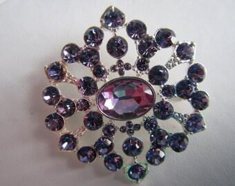 vintage PIN BROOCH  Silver tone with Purple Rhinestones **   Jewelry