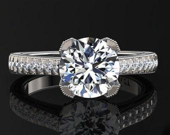 Moissanite Engagement Ring Moissanite Ring 14k or 18k White Gold Matching Wedding Band Available SW5MOISW