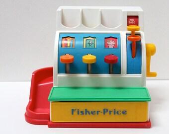 Vintage Fisher Price plastic cash register toy, 1990 (no coins)