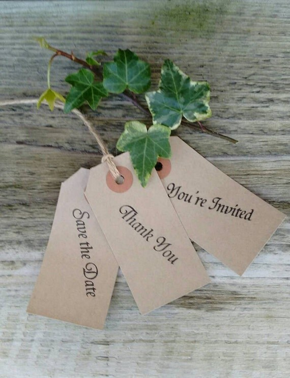 set of 10 hand stamped vintage save the date,thank you or you're invited tags with envelopes