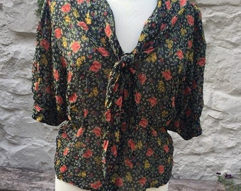 Vintage 80s black flower print shawl collar blouse Windsmoor UK 14 US 10