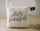 Pillow Cover - Let's Snuggle 16 x 16, present, housewarming gift, cushion cover, throw pillow, cushion, valentine