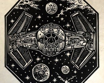 Darth Vader's Tie Fighter Block Print