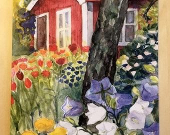 Swedish Summer House Dye Cut Blank Card Hand Made Watercolor