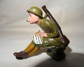 Manoil WWI Toy Soldier Writing Home and Smoking Cigarette