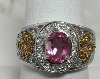 Lovely Two Tone Estate Pink Sapphire and Gemstone  Sterling Silver Ring
