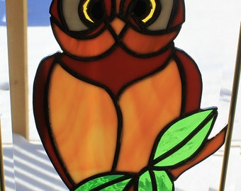 Stained glass owl on a branch suncatcher wall hanging