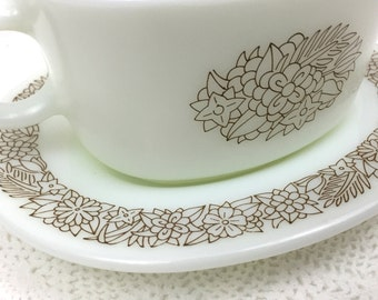 White Pyrex Gravy Boat with Brown Flowers